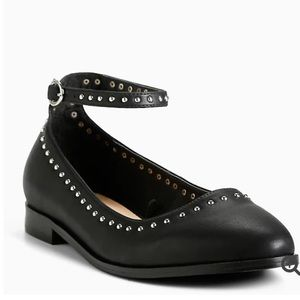 Torrid 10W Black Studded Ankle Strap Flat Shoe